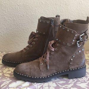 Sam Edelman Jennifer Combat Boot, Dark Taupe Suede